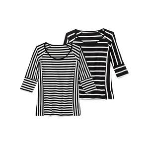 Laura Torelli COLLECTION Damen-T-Shirt mit modischem Streifen-Design