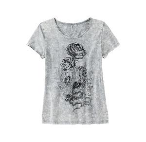 Laura Torelli COLLECTION Damen-T-Shirt mit Rosen-Frontaufdruck