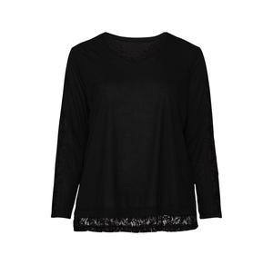 Laura Torelli plus (Gr. 44-58) Damen-Shirt mit Spitzeneinsätzen, große Größen