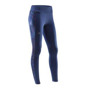 Laufhose lang Tights Run Warm+ Damen blau/koralle