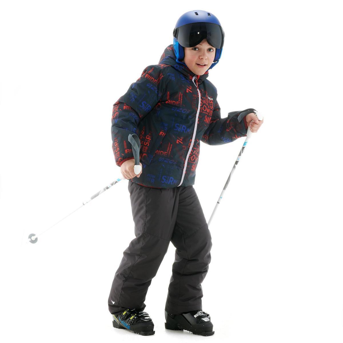 Bild 3 von Skijacke Piste 100 warm wendbar Kinder schwarz