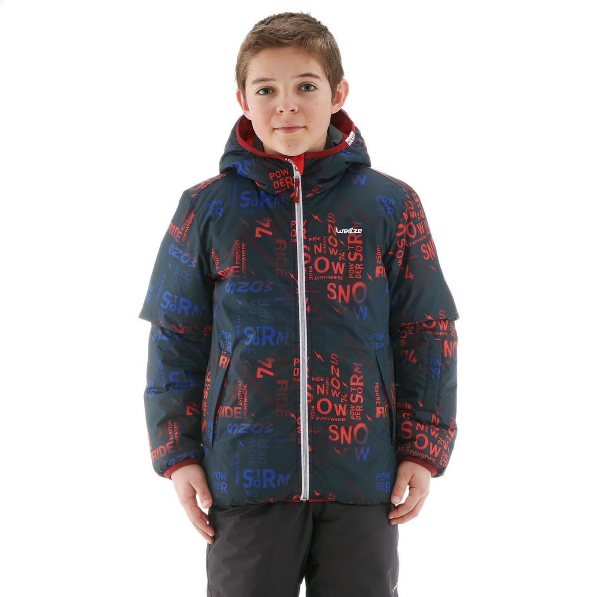 Bild 4 von Skijacke Piste 100 warm wendbar Kinder schwarz