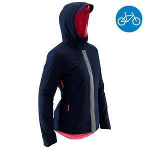 Fahrrad-Regenjacke City 900 Warm Damen marineblau