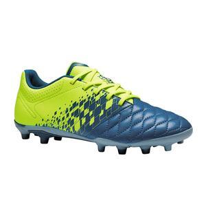 Fußballschuhe Nocken Agility 500 FG Trockenböden Kinder blau/gelb
