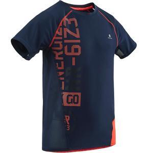 T-Shirt Kurzarm Slim S900 Gym Kinder blau mit Print