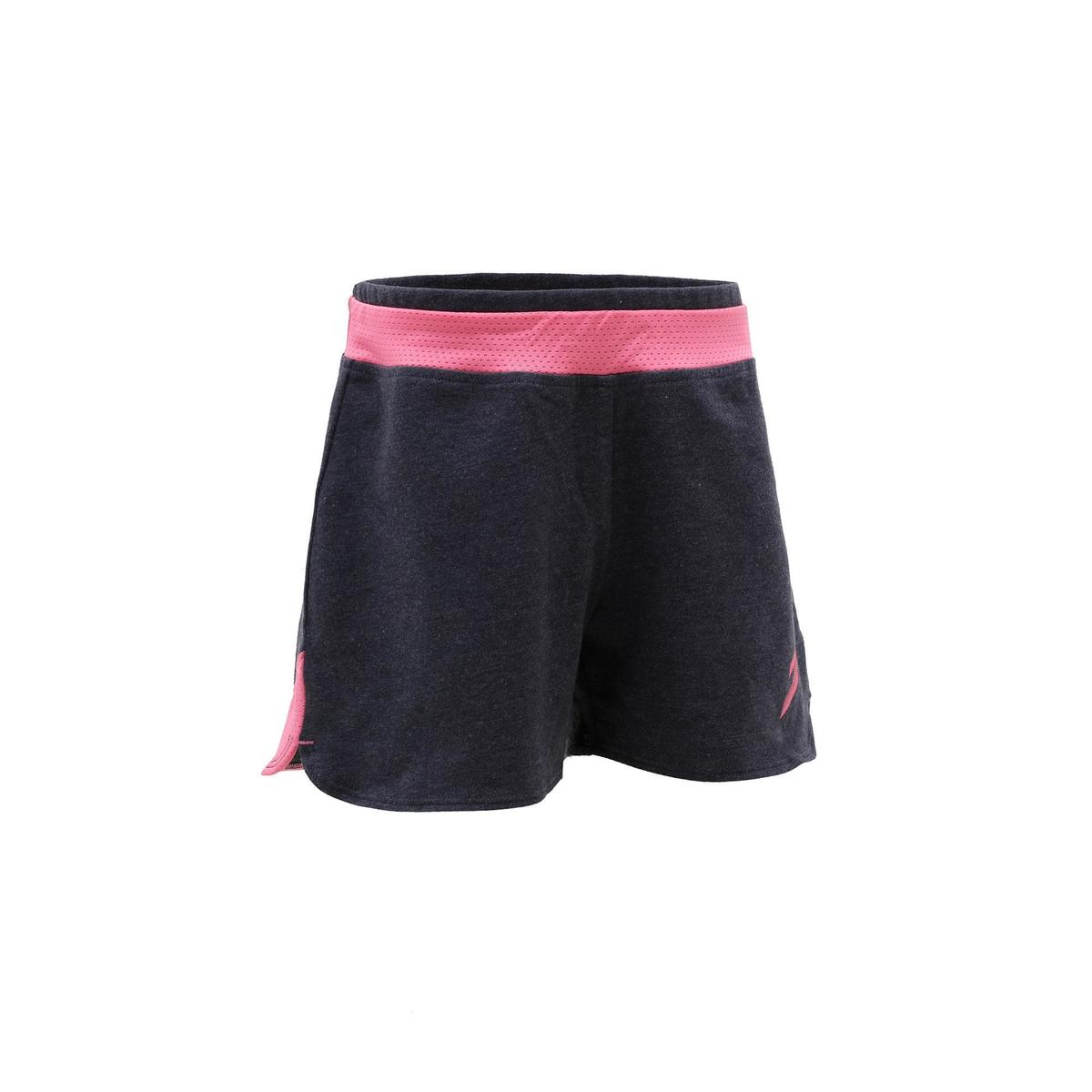 Bild 1 von Sporthose kurz 500 Gym Kinder grau/rosa mit Print