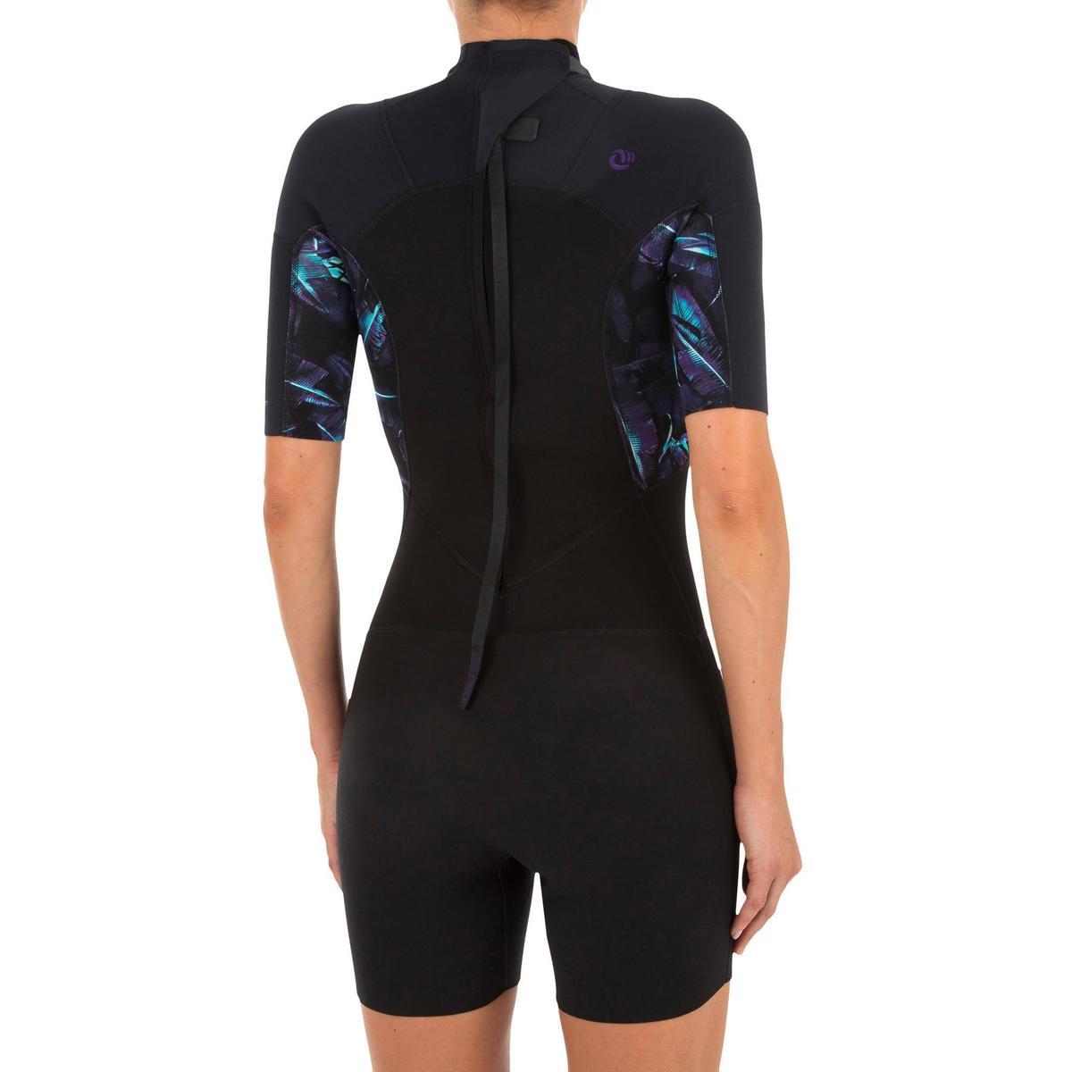 Bild 2 von Neoprenanzug Shorty Surfen 500 Stretch Neopren 2 mm Damen schwarz bedruckt