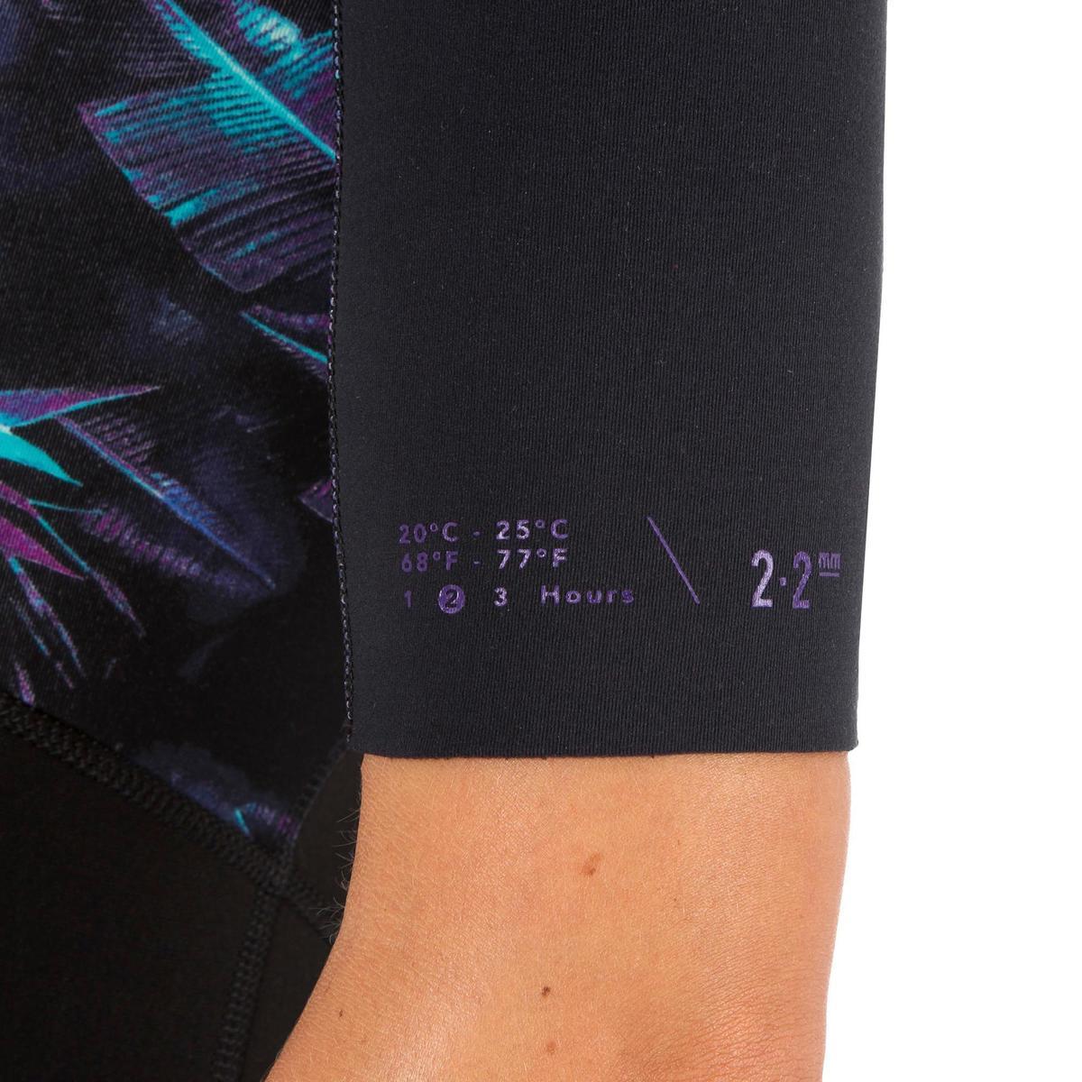 Bild 5 von Neoprenanzug Shorty Surfen 500 Stretch Neopren 2 mm Damen schwarz bedruckt