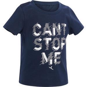 T-Shirt 100 Gym Baby blau mit Print