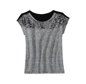 Laura Torelli COLLECTION Damen-T-Shirt mit Pailletten-Verzierung