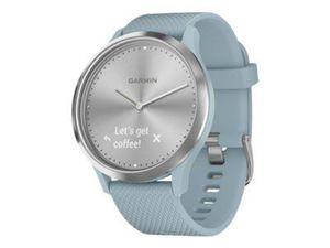 GARMIN vivomove HR Sport Silber mit blaugruenem Silikonarmband modische Hybrid-Smartwatch mit Touchscreen