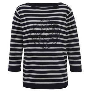 GERRY WEBER casual             Pullover, 3/4 Arm, gestreift, Strass