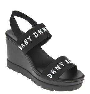 DKNY             Sandaletten, Keilabsatz, Logo-Print, Fersen-Riemchen