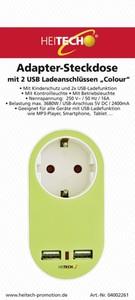 Heitech Adapter-Steckdose ''Colour'' grün, weiß