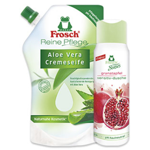 Frosch Pflegeseife oder Sensitiv Dusche versch. Sorten, jeder 300-ml-Spender/Flasche, jede 500-ml-Nachfüllpackung