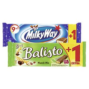 Balisto versch. Sorten, Milky Way oder Bounty, + 1 Riegel gratis, jede 185/215/285-g- Packung