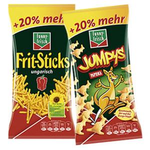 Funny Frisch Frit Sticks ungarisch, Jumpys, Ringli oder Cornados + 20 % mehr Inhalt,  jeder 90/96/120-g-Beutel