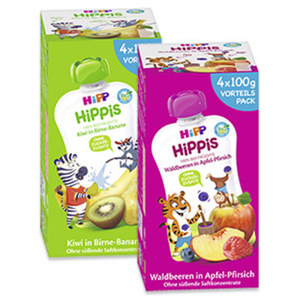 Hipp Hippis Fruchtquetschen versch. Sorten, jede 4 x100-g-Packung