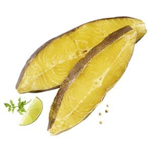 Räucherfischspezialität: Heilbutt Flachschnitt gold-gelb, vom schwarzen Heilbutt, aus Wildfang, Nordostatlantik, je 100 g
