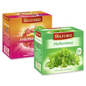 Milford Früchtetee oder Kräutertee  versch. Sorten, jede 28er = 56/63-g-Aufgussbeutel-Packung