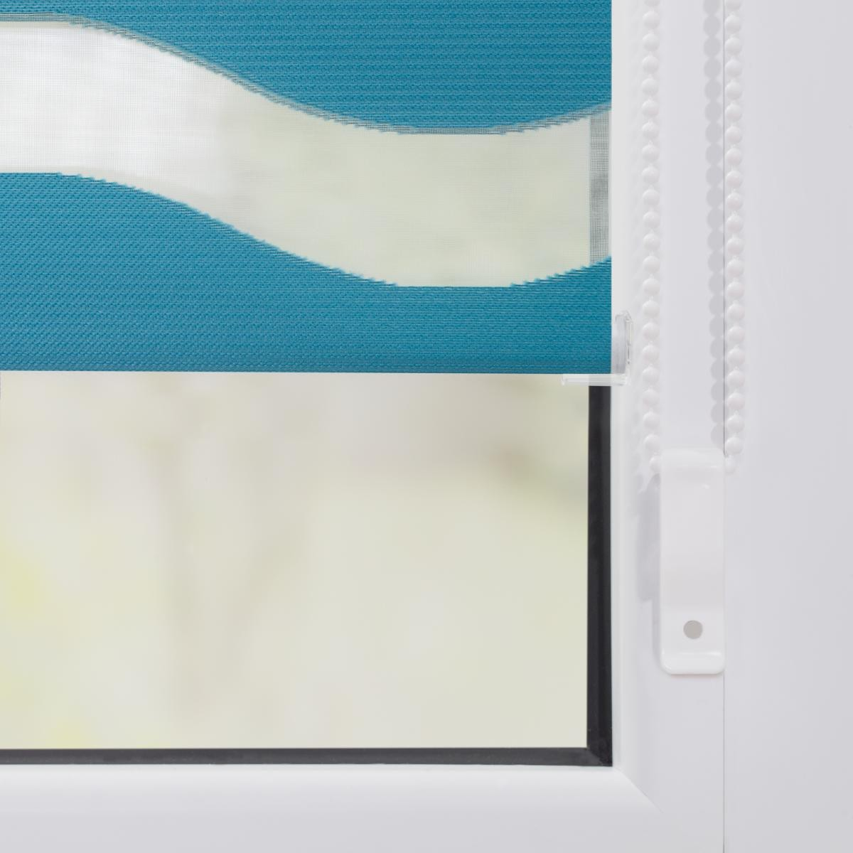 Bild 5 von Lichtblick Duo Rollo Welle Klemmfix, ohne Bohren, Petrol, 70 cm x 150 cm (B x L)