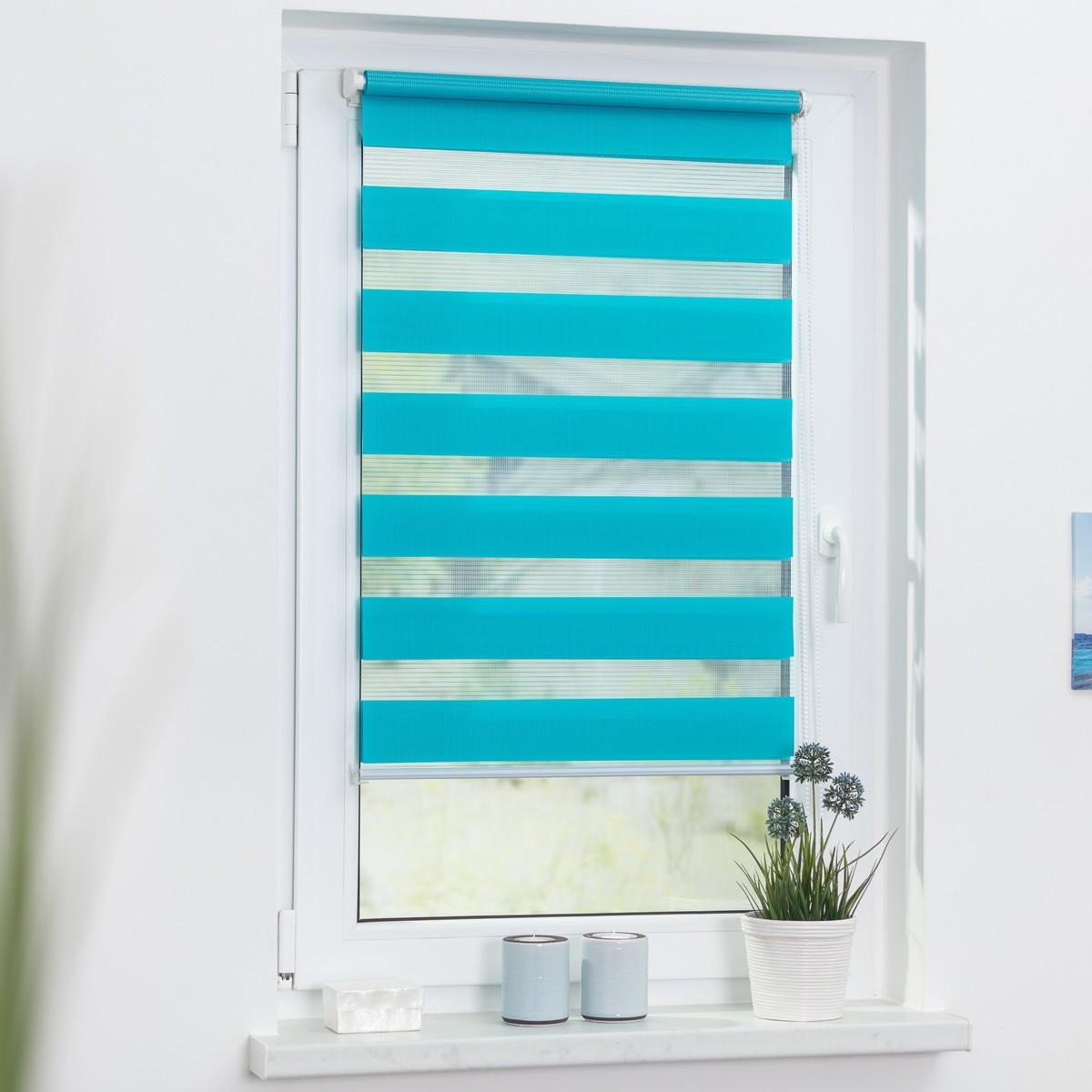 Bild 2 von Lichtblick Duo-Rollo Klemmfix, ohne Bohren - Blau, 110 cm x 150 cm (B x L)