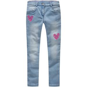 Mädchen Skinny-Jeans mit Herz-Stickerei