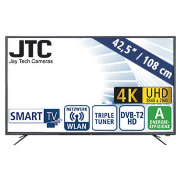 "43""-Ultra-HD-LED-TV Atlantis 4.3N • 3 HDMI-/USB-Anschlüsse, CI+ • Stand-by: 0,5 Watt, Betrieb: 60 Watt • Maße: H 56,6 x B 97,1 x T 9,6 cm • Energie-Effizienz A (Spektrum A++ bis E)"