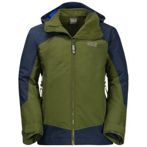 Jack Wolfskin 3-in-1 Hardshell Jungen Boys Akka 3in1 Jacket 128 grün