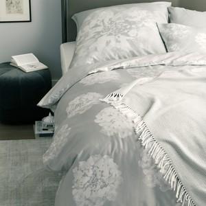 Schöner Wohnen Bettwäsche Flora-B grau, GRÖßENAUSWAHL:135x200 cm + 80x80 cm