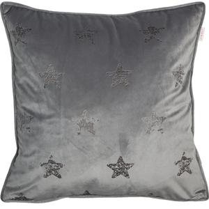 ESPRIT Velvetstar Samt-Kissenhülle 45 x 45 cm, Farbe Grau