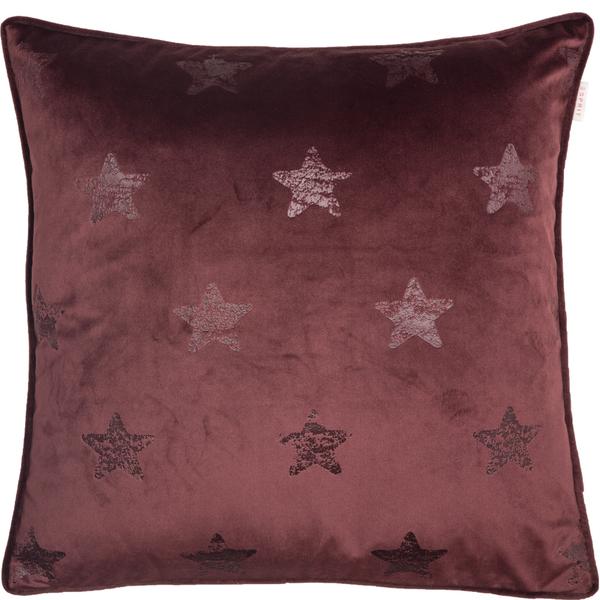 ESPRIT Velvetstar Samt-Kissenhülle 45 x 45 cm, Farbe Bordeaux
