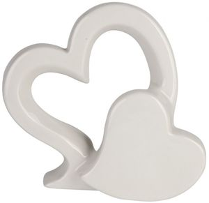 Standdeko - Herzen - aus Keramik - 18 x 5,5 x 16,5 cm