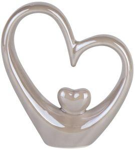 Standdeko - Herzen - aus Keramik - 14 x 4 x 15,5 cm