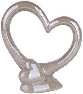 Standdeko - Herz - aus Keramik - 18,5 x 9,5 x 20 cm