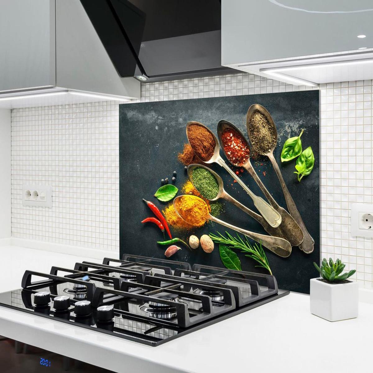 Bild 2 von Küchenrückwand aus Glas - GEWÜRZE - 90x65 cm