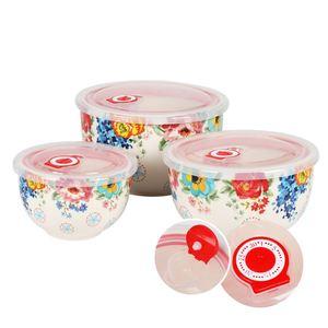 Keramikschüsseln mit Frischhaltedeckel 3er-Set