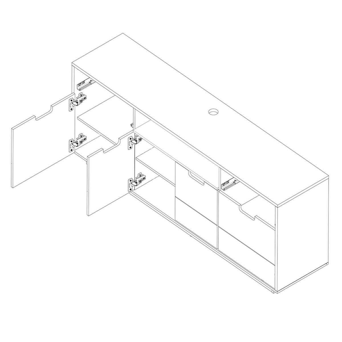 Bild 2 von TV-Sideboard COUNTRY - weiß Hochglanz - mit LED-Leiste