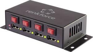 Renkforce RFPS-7000/4S USB-Ladegerät Steckdose Ausgangsstrom (max.) 7 A 4 x USB Anschlüsse einzeln schaltbar