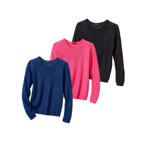 Laura Torelli Classic Damen-Pullover mit überschnittenen Ärmeln