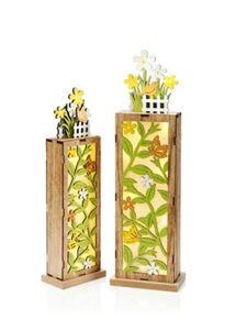 """LED-Dekosäulen """"Blumengarten"""", 2er-Set"""