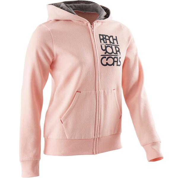 Sweatshirtjacke 500 Gym Kinder rosa