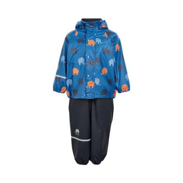 CELAVI   2-tlg. Set Regenjacke mit Regenhose gefüttert blau