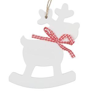 Weihnachtsanhänger, Rentier, Holz, 14,5 x 10,5 cm, weiß