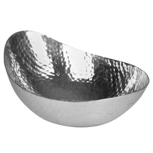 Design-Schale, Aluminium, gehämmert, 29 x 24 x 10 cm, silber