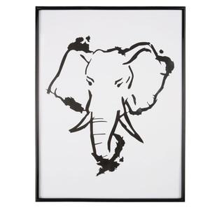 Bilderrahmen, Elefant, 38 x 50 x 2 cm, schwarz