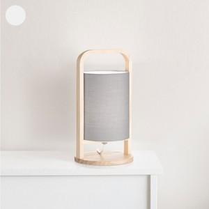 Tischlampe, Holz, Stoffschirm, 16 x 30 x 16 cm, grau