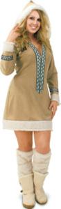 Kleid Eskimo mit Kapuze Karneval Kostüm