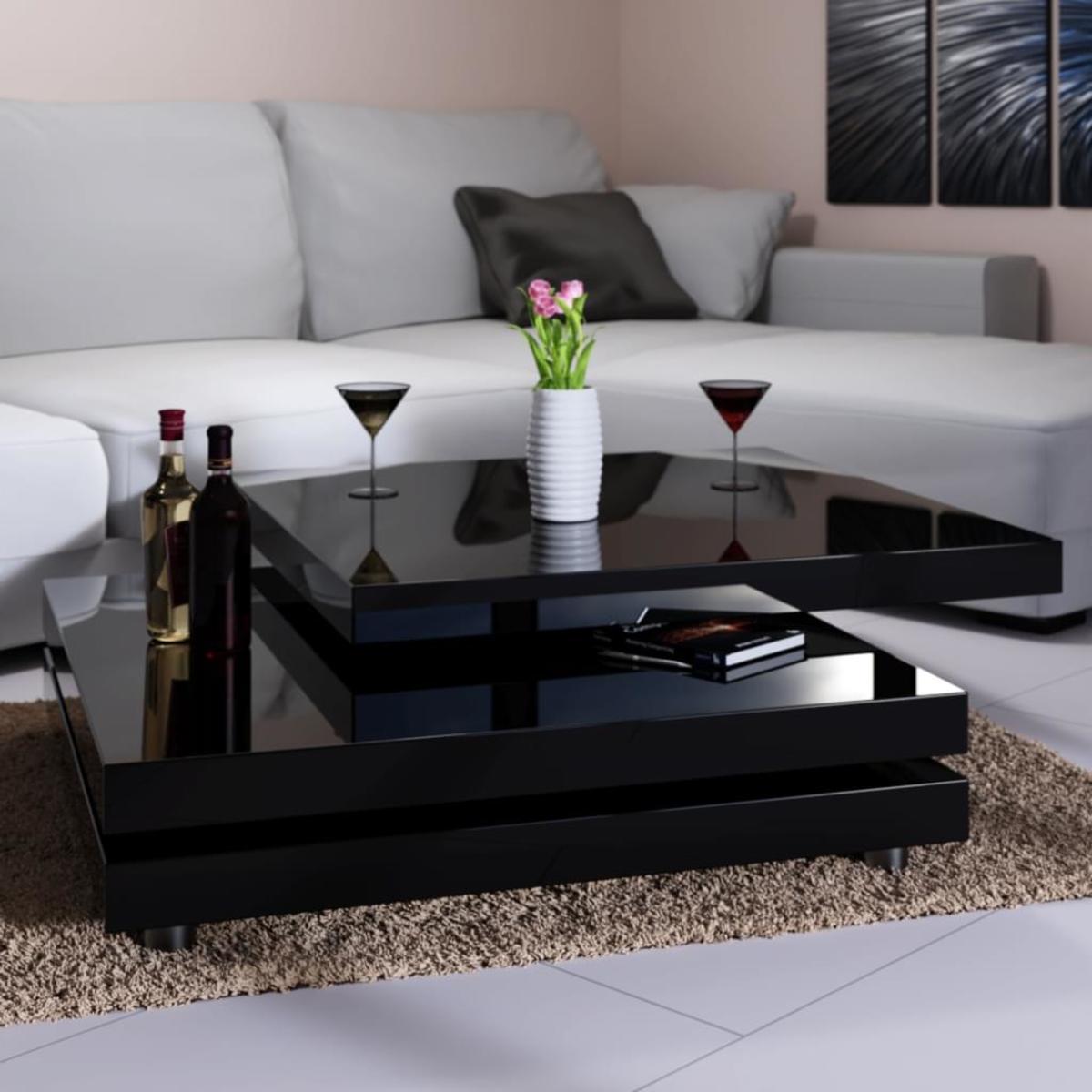 deuba couchtisch hochglanz schwarz modern 360 drehbar im cube design 60x60cm
