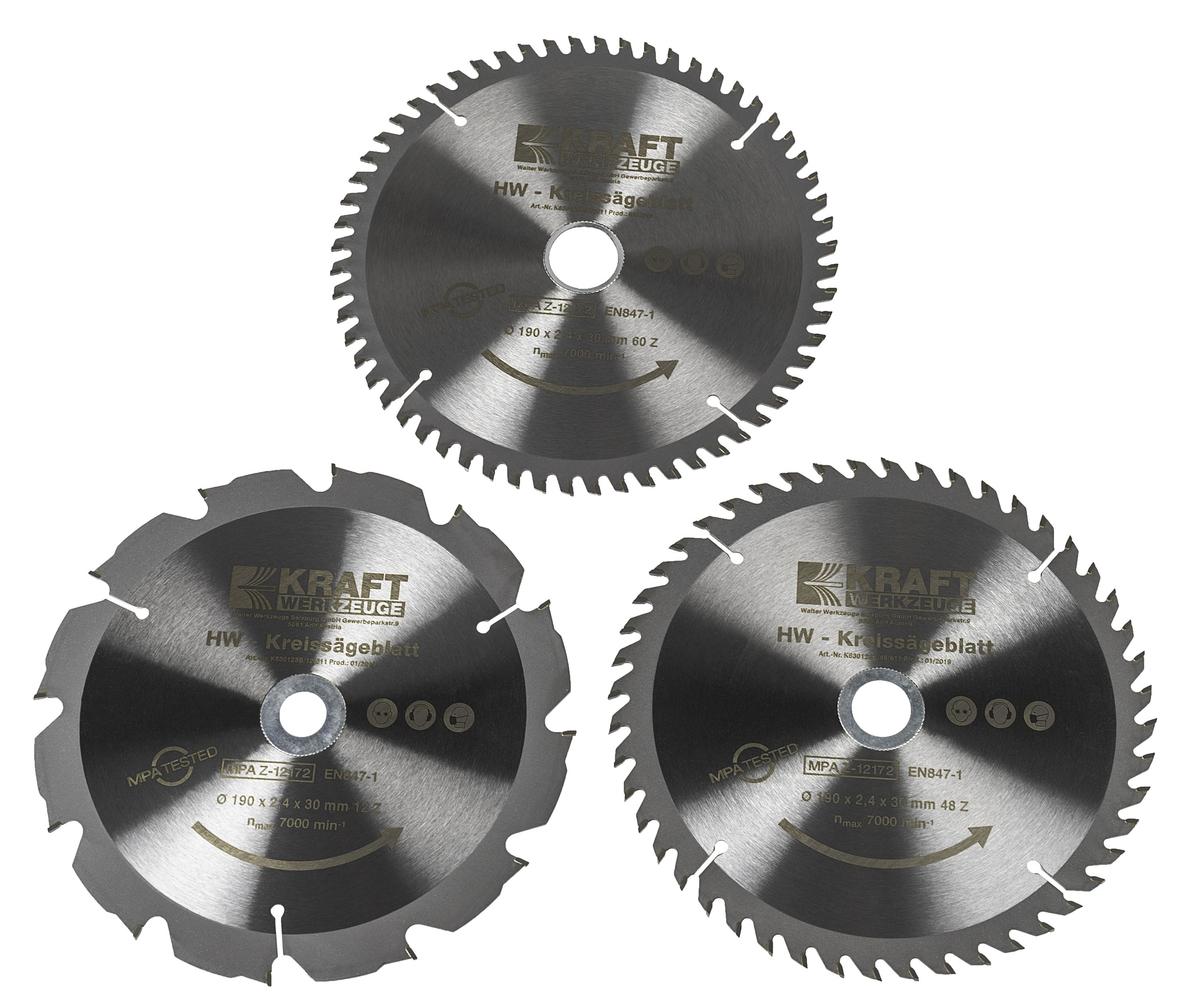Bild 1 von Kraft Werkzeuge HW-Sägeblatt, Ø190mm, 3er Set